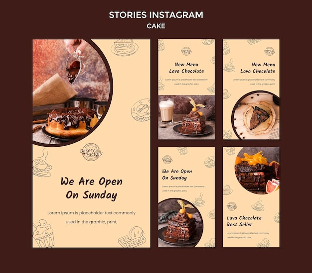 Modelo de histórias do instagram de loja de bolos inaugurada