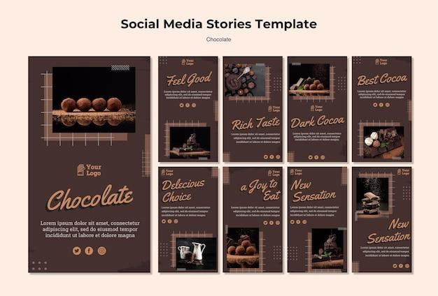 Modelo de histórias do instagram de loja de chocolates