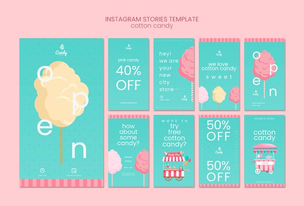 Modelo de histórias do instagram de loja de doces