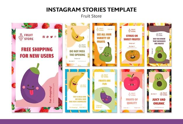 Modelo de histórias do instagram de loja de frutas