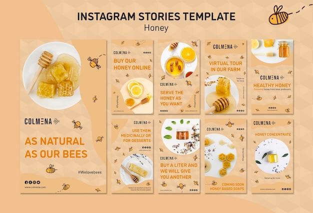 Modelo de histórias do instagram de loja de mel