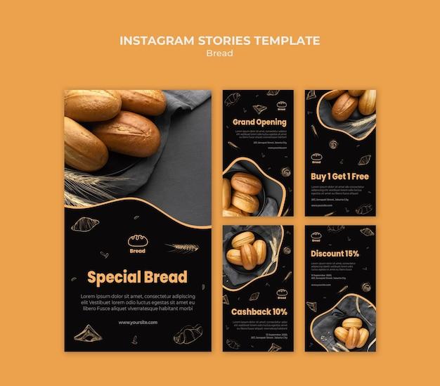 Modelo de histórias do instagram de loja de pães