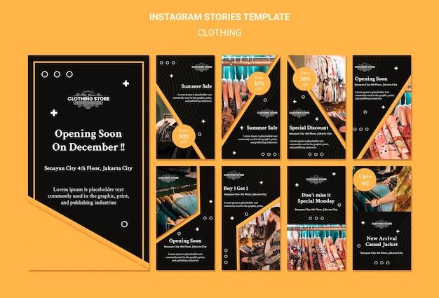 Modelo de histórias do instagram de loja de roupas