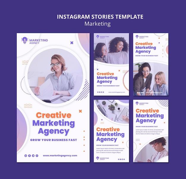 Modelo de histórias do instagram de marketing