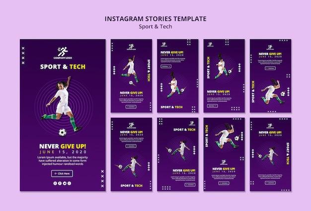 Modelo de histórias do instagram de menina de futebol