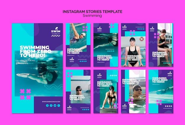 Modelo de histórias do instagram de natação