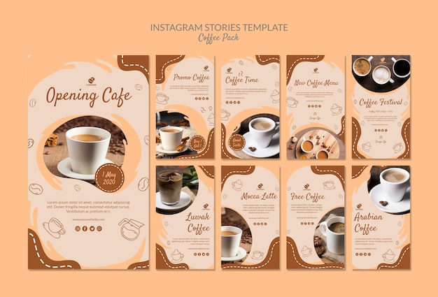 Modelo de histórias do instagram de pacote de café