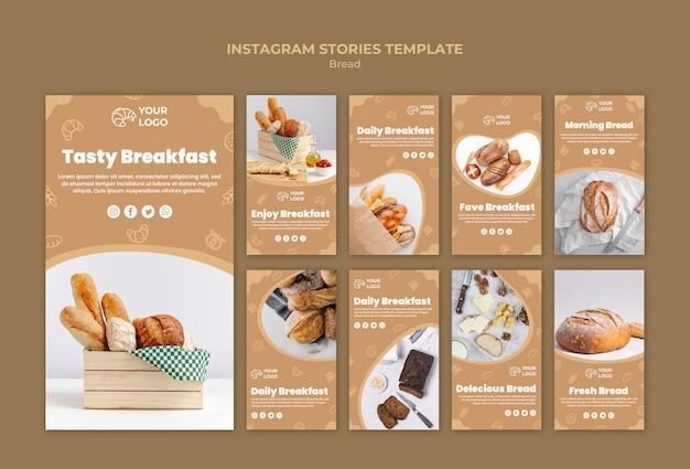 Modelo de histórias do instagram de pão