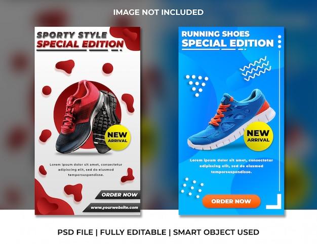 Modelo de histórias do instagram de produto esportivo vermelho e azul