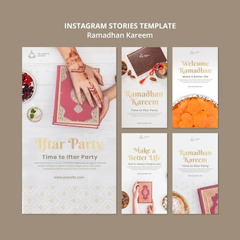 Modelo de histórias do instagram de ramadan com foto