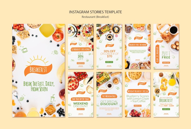 Modelo de histórias do instagram de restaurante de café da manhã