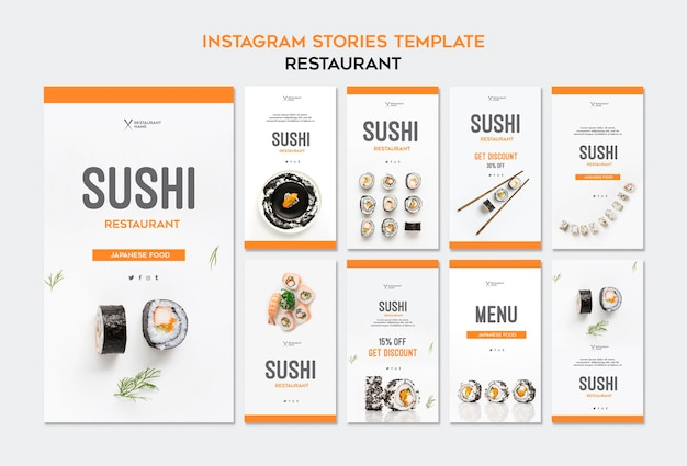 Modelo de histórias do instagram de restaurante de sushi