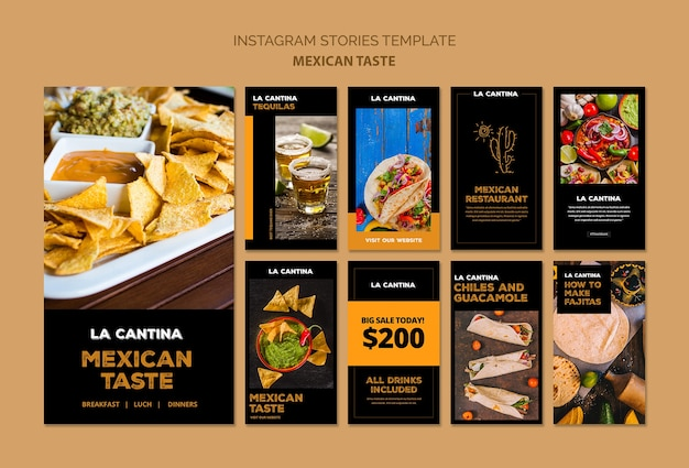Modelo de histórias do instagram de restaurante mexicano