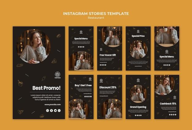 Modelo de histórias do instagram de restaurante
