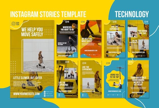 Modelo de histórias do instagram de scooter com foto