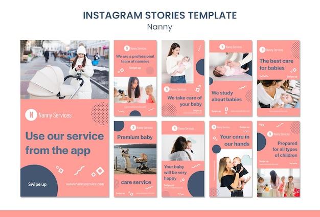 Modelo de histórias do instagram de serviços de babá