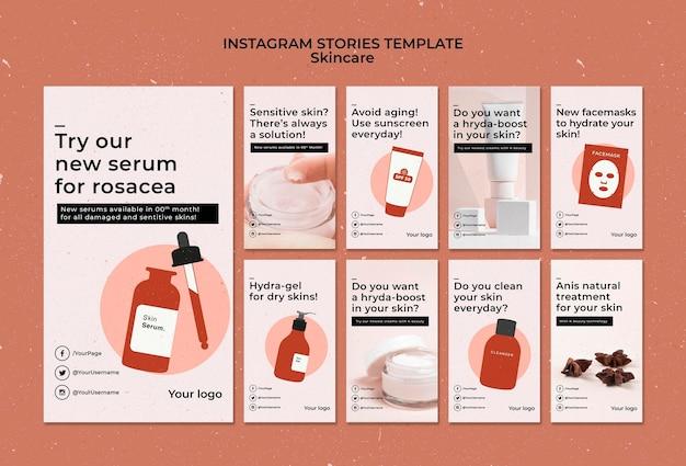 Modelo de histórias do instagram de skincare com foto