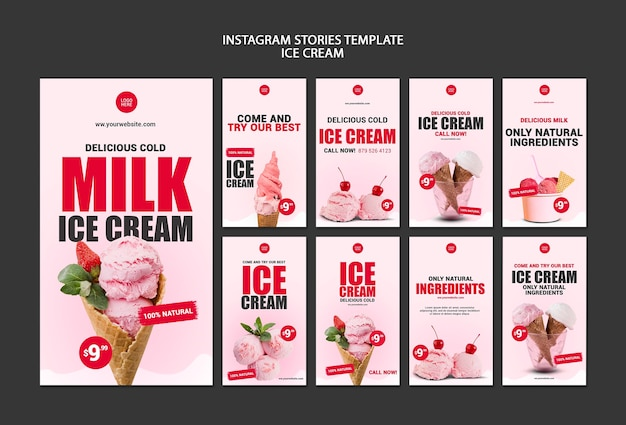Modelo de histórias do instagram de sorveteria