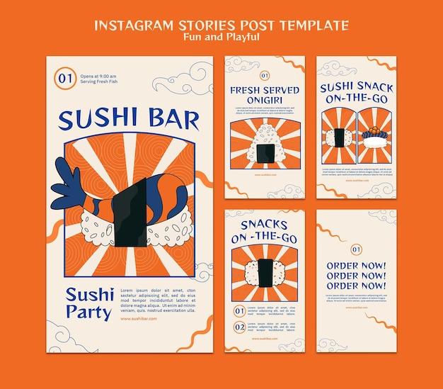 Modelo de histórias do instagram de sushi bar