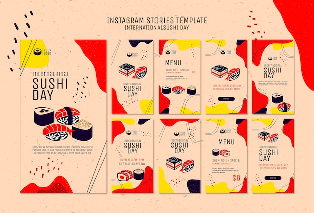 Modelo de histórias do instagram de sushi