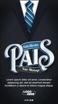 Modelo de histórias do instagram de terno e gravata feliz dia dos pais
