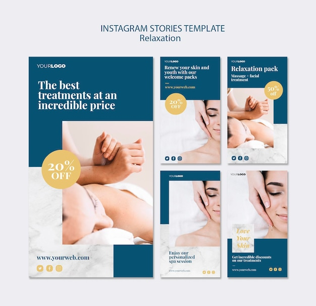 Modelo de histórias do instagram de tratamento de spa