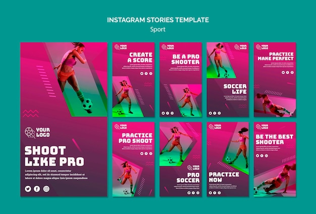 Modelo de histórias do instagram de treinamento de futebol