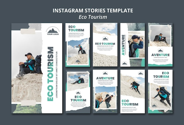 Modelo de histórias do instagram de turismo ecológico