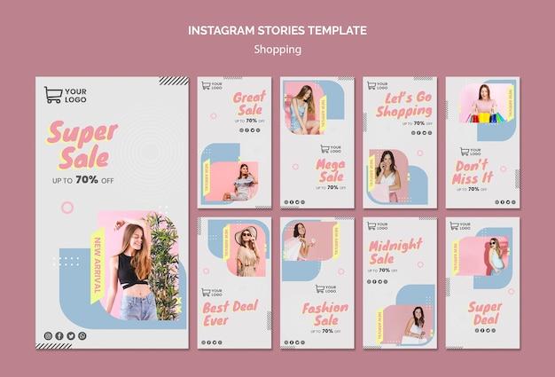 Modelo de histórias do instagram de venda de compras