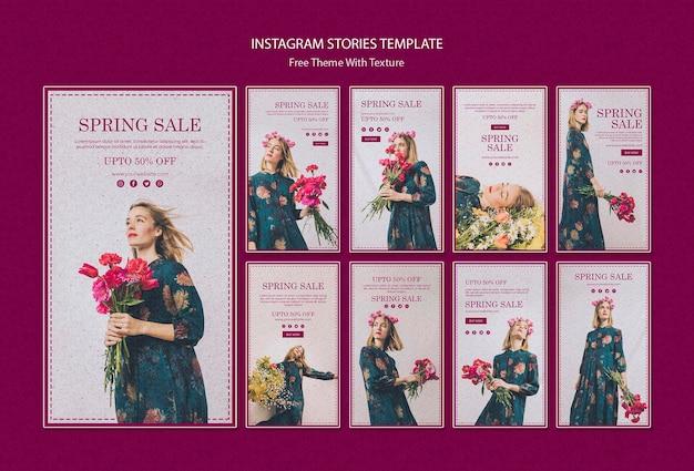 Modelo de histórias do instagram de venda de primavera