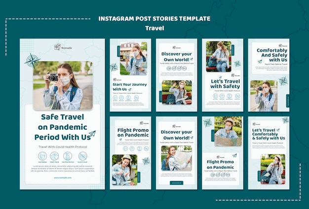 Modelo de histórias do instagram de viagens