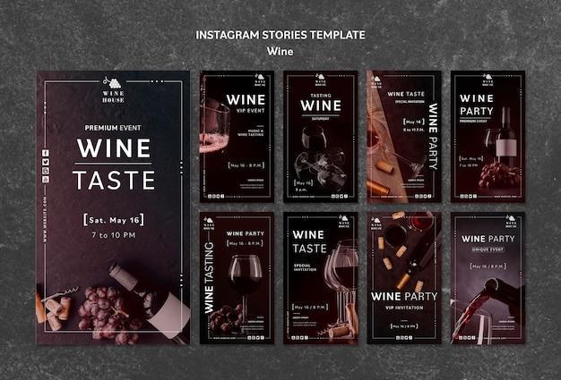 Modelo de histórias do instagram de vinho