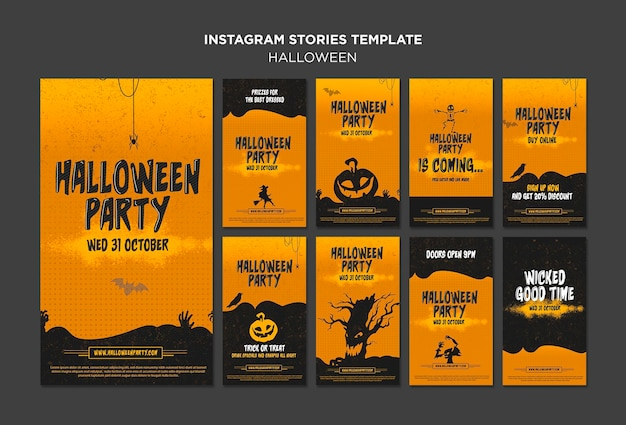 Modelo de histórias do instagram do conceito de halloween