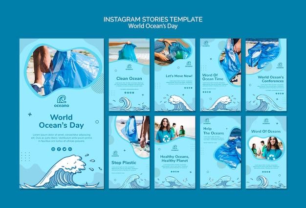 Modelo de histórias do instagram do dia do oceano mundial