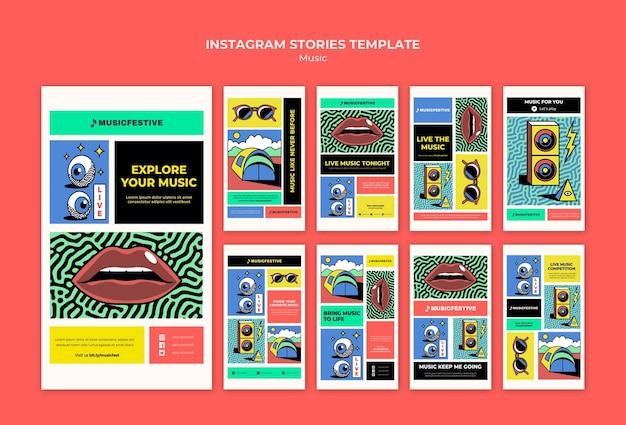 Modelo de histórias do instagram do festival de música