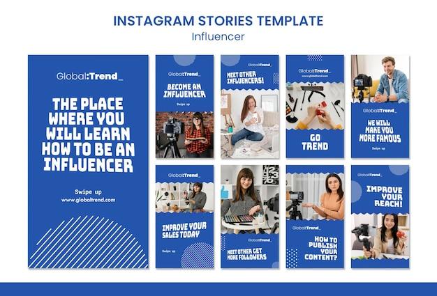 Modelo de histórias do instagram do influenciador