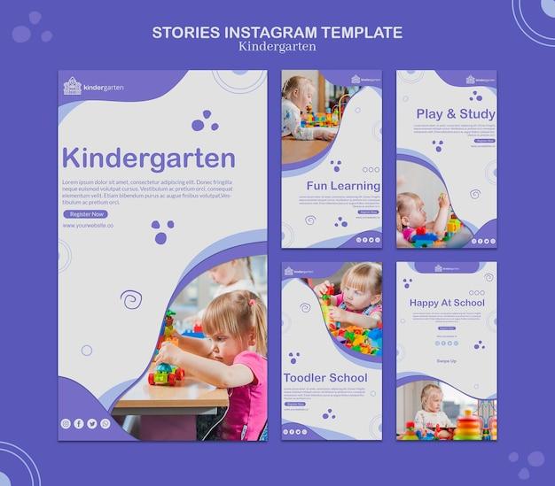 Modelo de histórias do instagram do jardim de infância