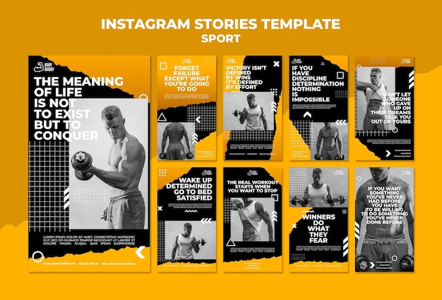 Modelo de histórias do instagram do processo de treinamento