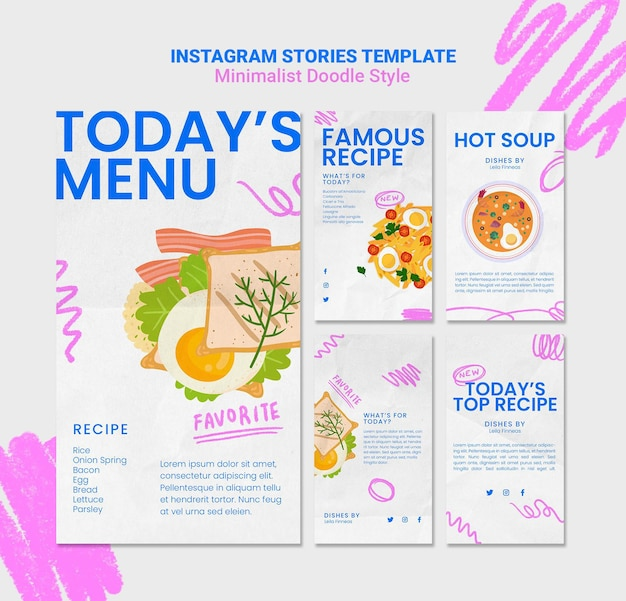 Modelo de histórias do instagram do site de receitas