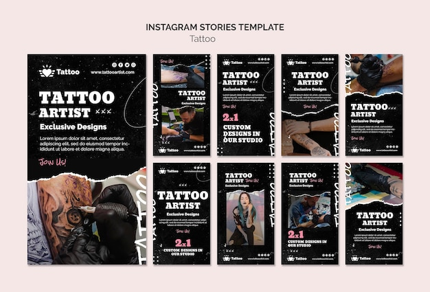 Modelo de histórias do instagram do tatuador