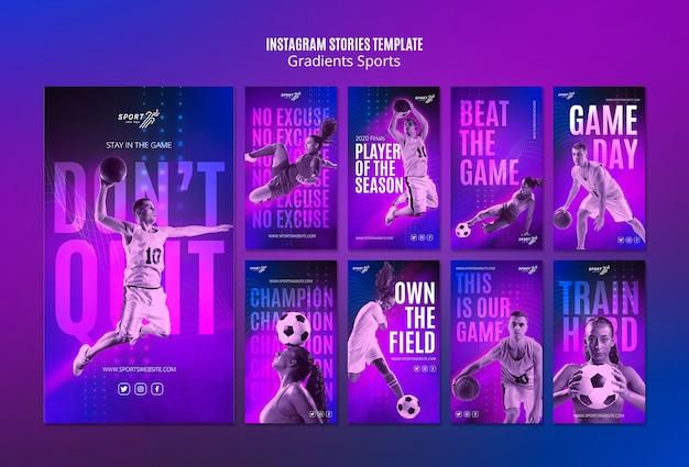 Modelo de histórias do instagram esporte gradiente