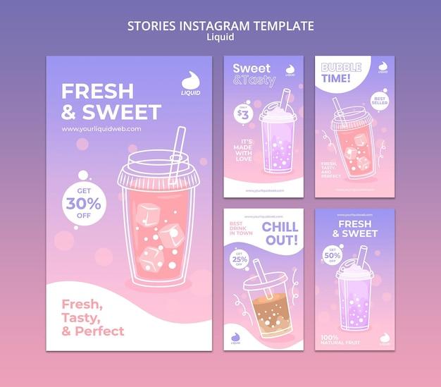 Modelo de histórias do instagram líquido