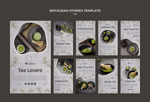 Modelo de histórias do instagram matcha tea