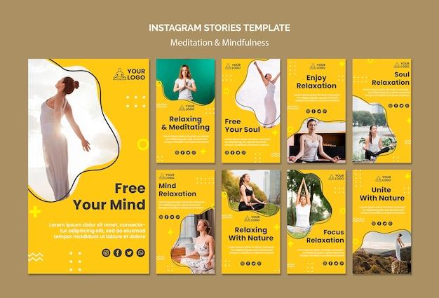 Modelo de histórias do instagram meditação e atenção plena