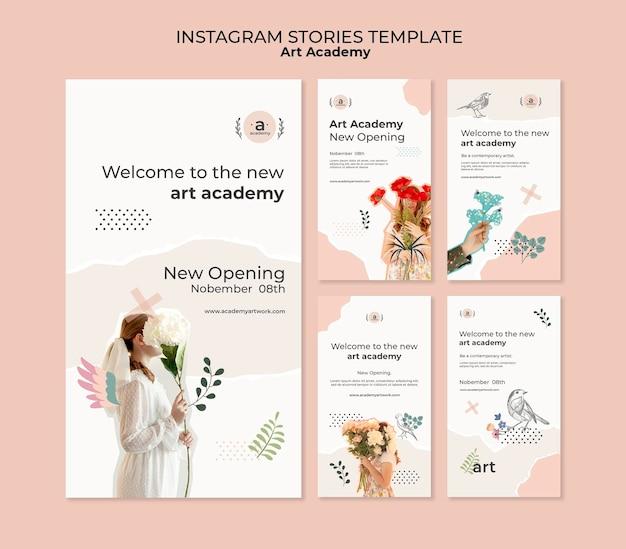 Modelo de histórias do instagram para academia de arte