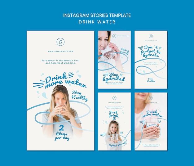Modelo de histórias do instagram para beber água