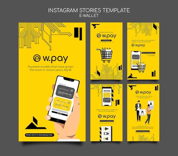 Modelo de histórias do instagram para carteira eletrônica