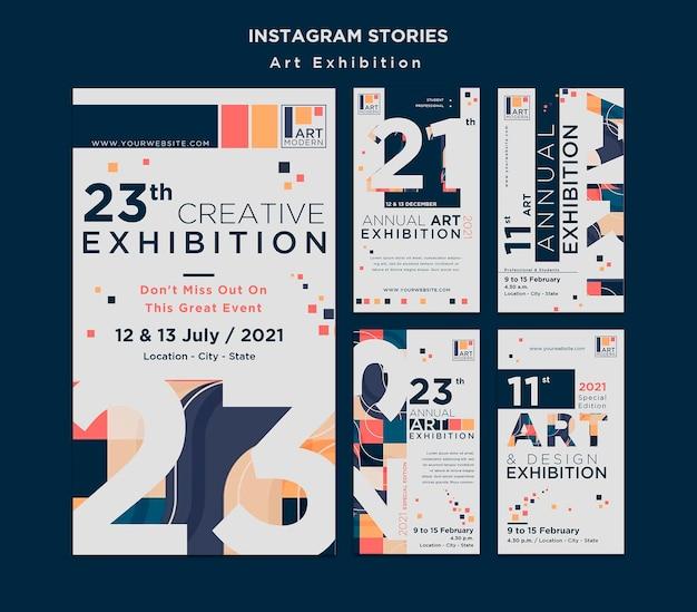 Modelo de histórias do instagram para conceito de exposição de arte