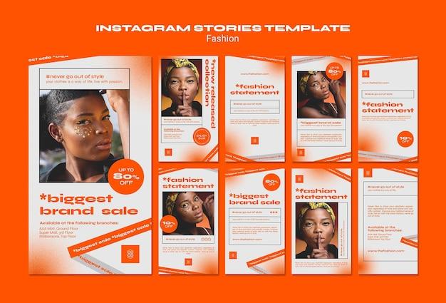 Modelo de histórias do instagram para conceito de moda