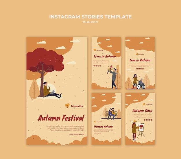 Modelo de histórias do instagram para conceito de outono